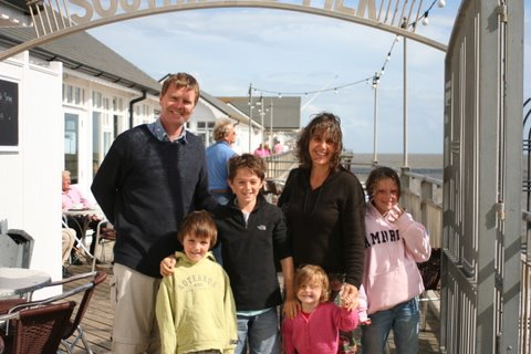The Glass family in the UK. Pictured L to R:  Greg, Thaddeus, Ben, Jo, Arianne and Tessa Glass